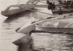 Flotteur lors de la mise à l'eau – photo Trimarans et autres multicoques