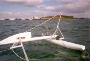 Casse baguette palpeur, j'ai pieds, l'Ile St Michel en arrière plan – photo F. Monsonnec 2005